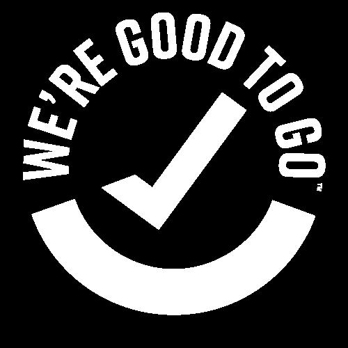 We're good to go logo white