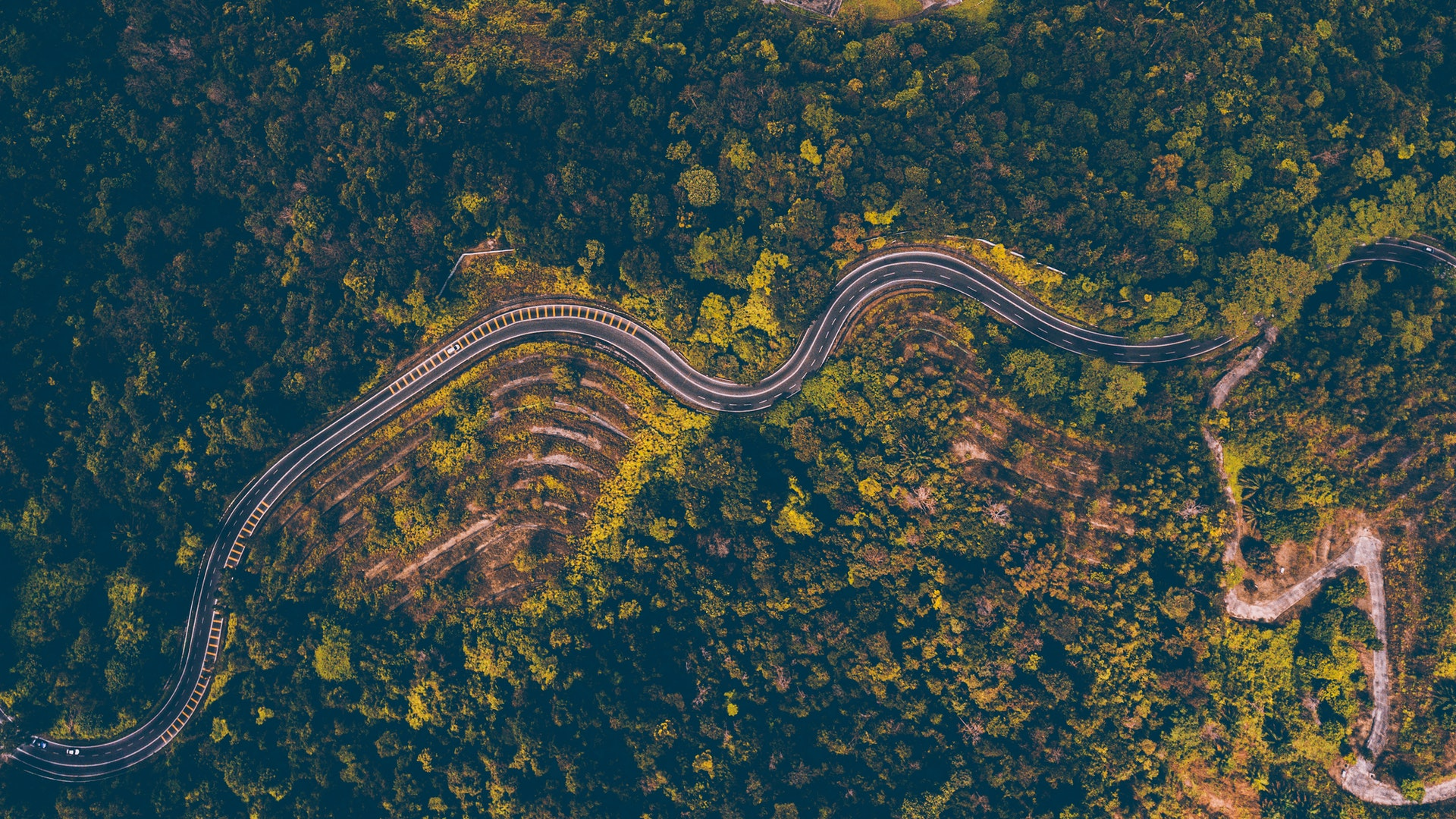 A road winding through the Midlands