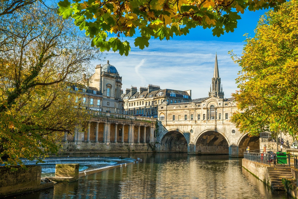 A view of the Pulteney Bridge in Bath
