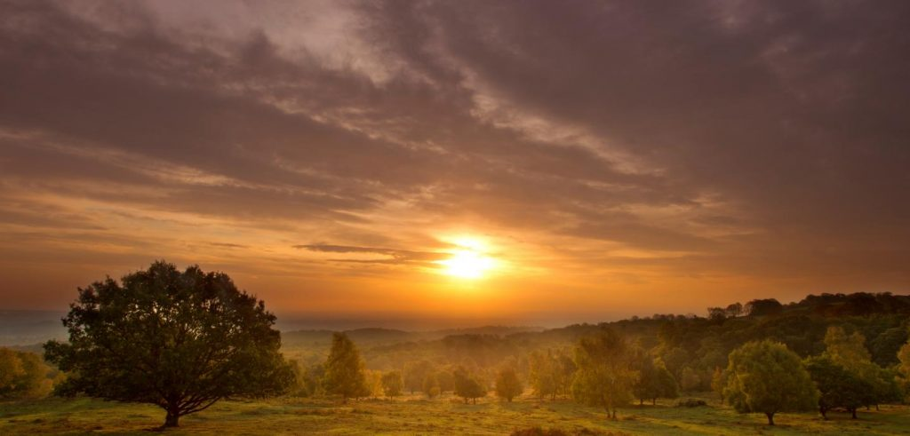 A sunset over Beacon Hill Country Park