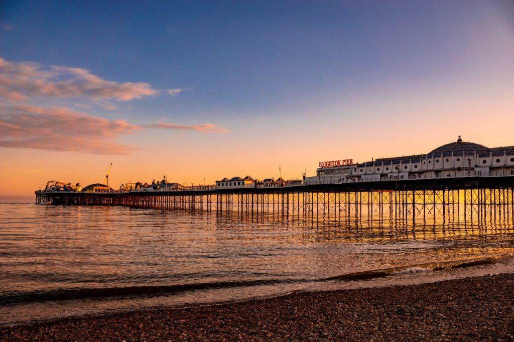 A sunset view of Brighton Pier