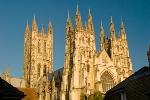 The towers of Canterbury Cathedral at dawn