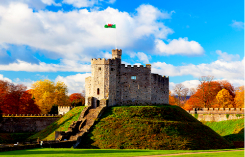Cardiff Castle in Cardiff in the sunshine