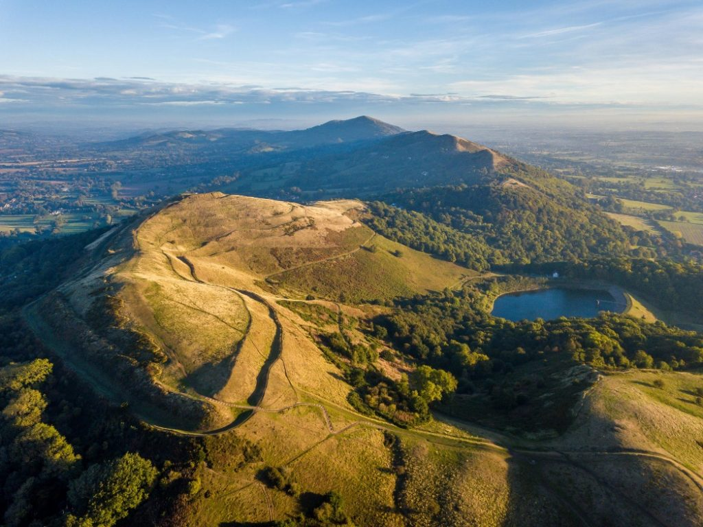 An aerial view of the Malvern Hills