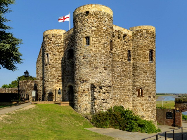 The flag of England flying over Rye Castle