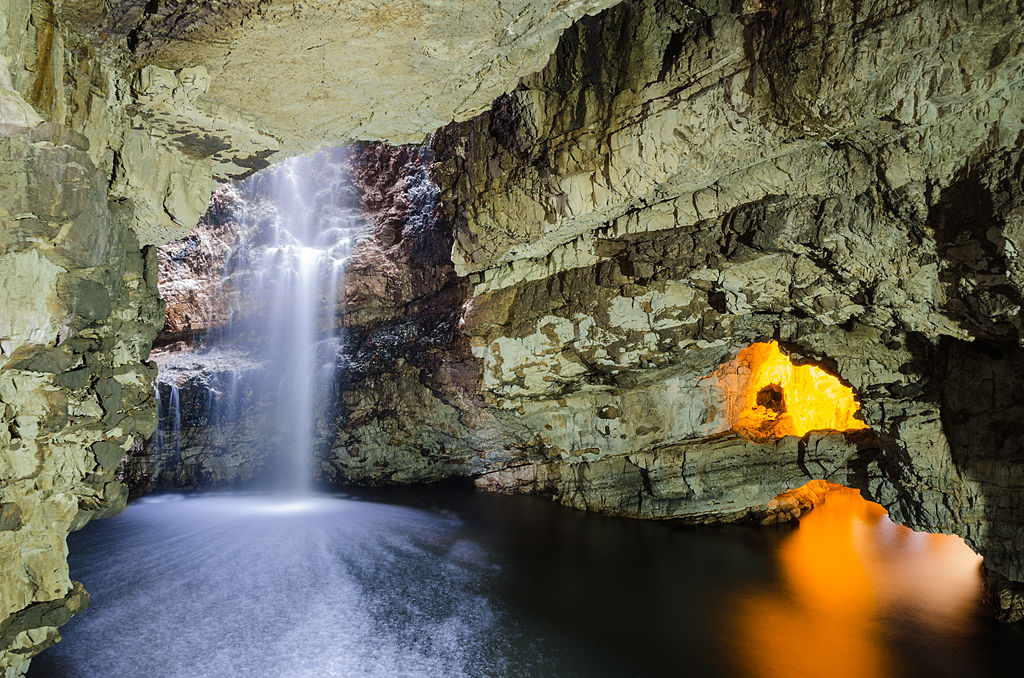 A waterfall in the Smoo Cave
