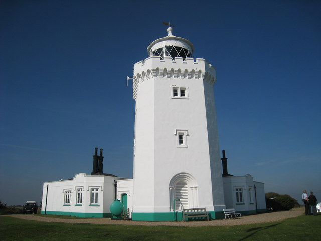 South Forelands Lighthouse with a couple of people standing in front of it