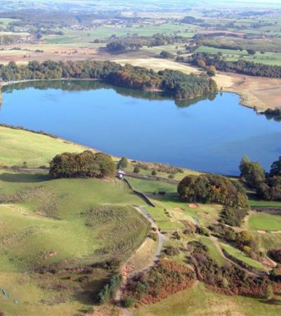 An aerial view of Talkin Tarn Country Park